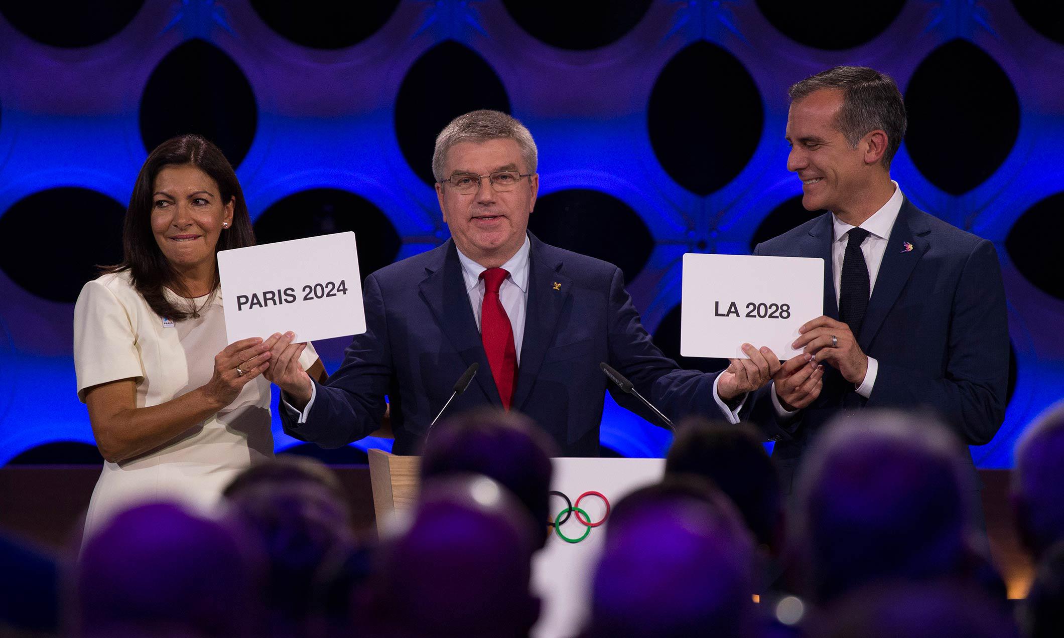 2024 年和 2028 年奥运会将分别在巴黎和洛杉矶举办