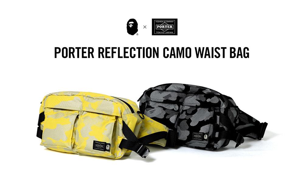 A BATHING APE® x PORTER 打造联名 REFLECTION CAMO WAIST BAG