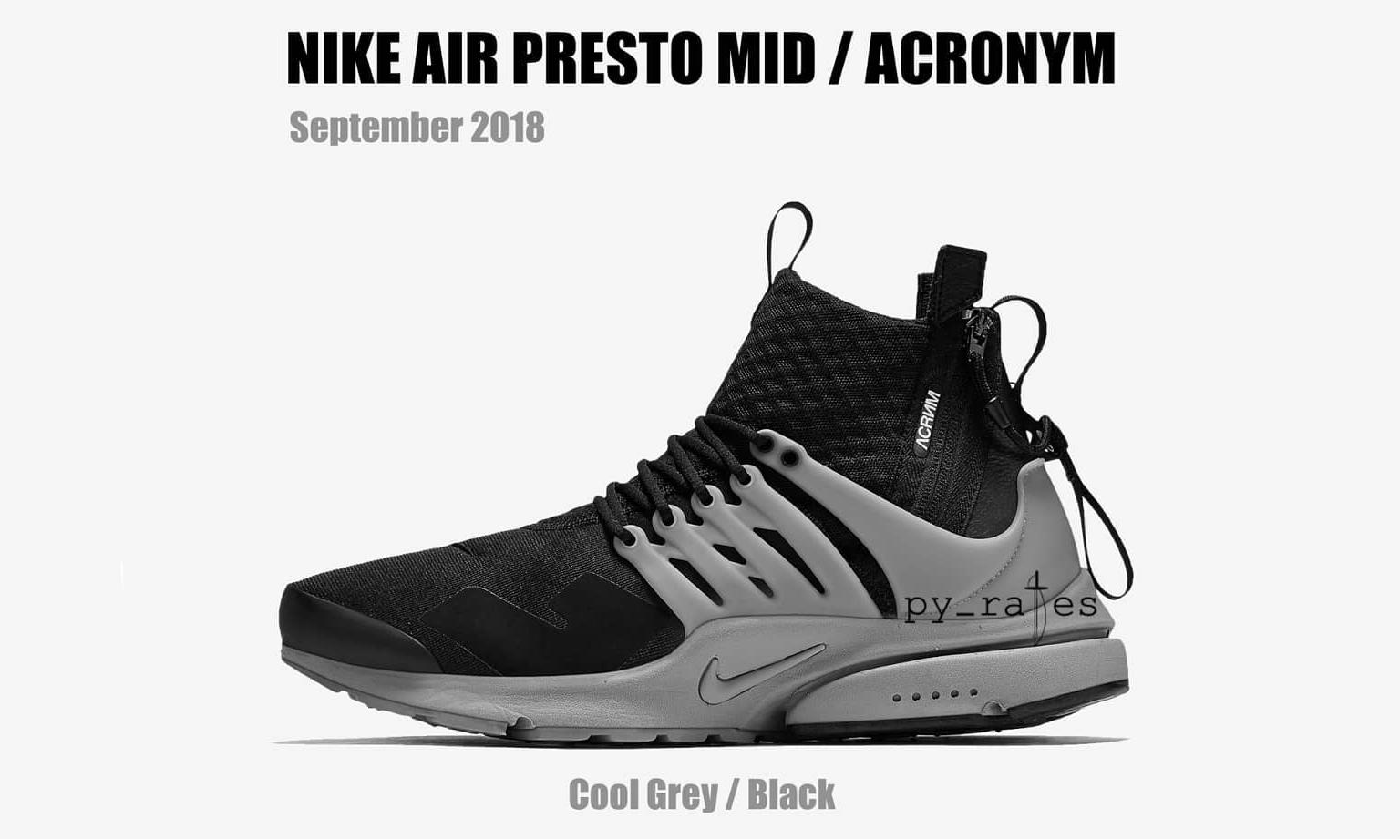 ACRONYM® x NikeLab Air Presto Mid 新配色渲染图预览