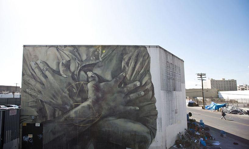 为流浪汉社区发声,街头艺术家 Faith47 在洛杉矶创作全新壁画