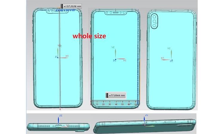 三个后置摄像镜头,iPhone X Plus 草图曝光