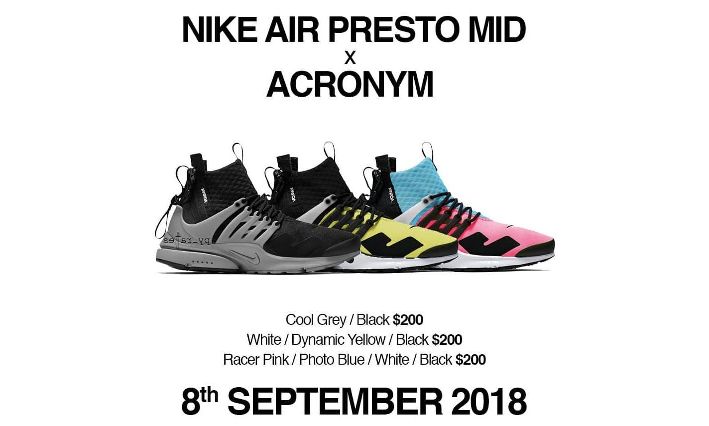 ACRONYM® x NikeLab Air Presto Mid 新配色系列发售日期公布