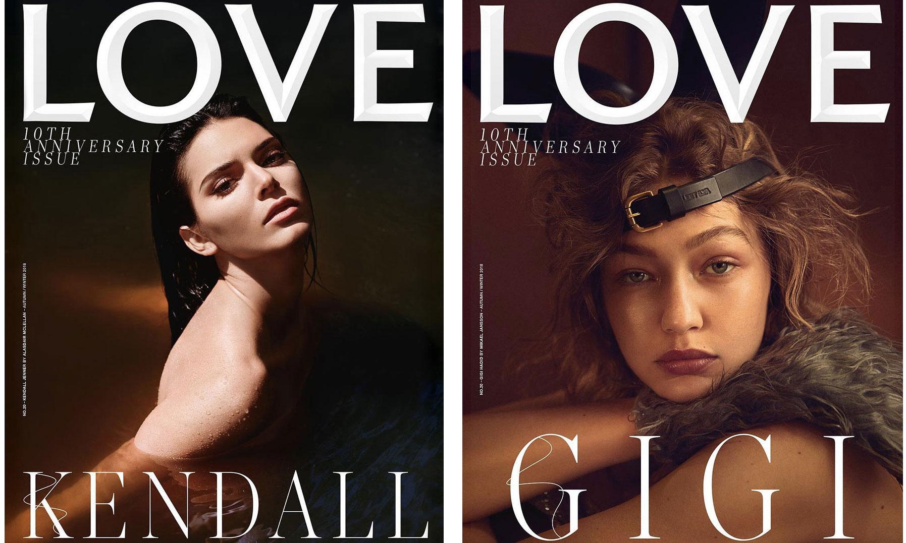 尽显黑暗浪漫美学,Gigi Hadid 以及 Kendall Jenner 为《LOVE》杂志拍摄 10 周年特辑封面