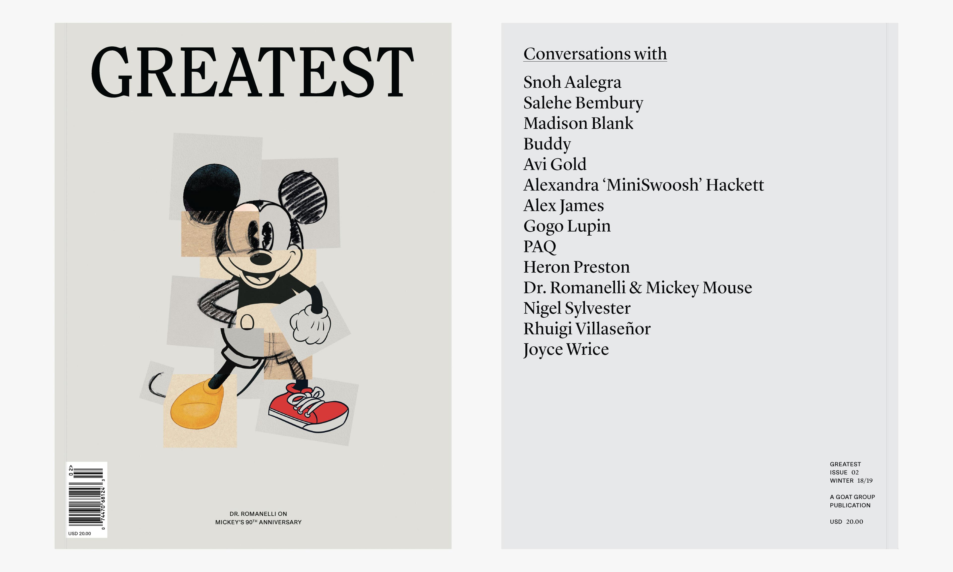 以米老鼠旧相片拼贴作为封面,《Greatest》杂志第 02 期发布