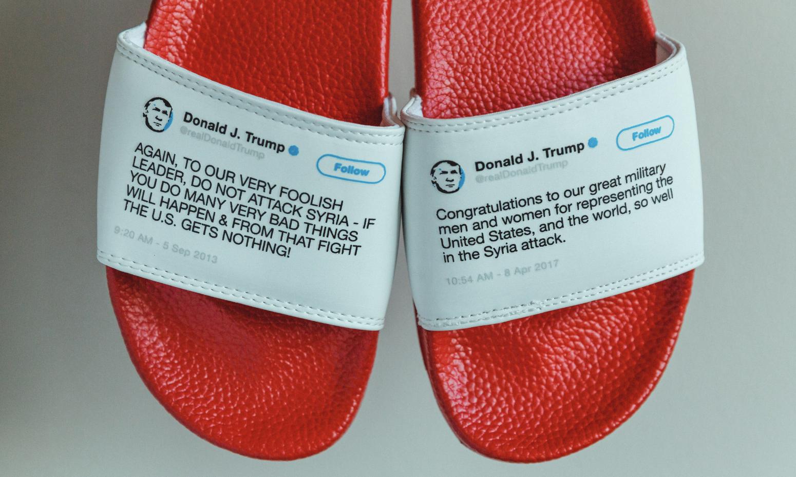 有人把特朗普在 Twitter 上的言论做成了印花拖鞋