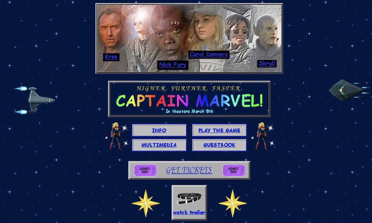 为《惊奇队长》持续造势!漫威推出 90s 设计主题网站