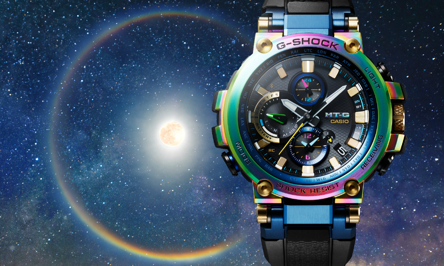 Casio 推出 20 周年纪念彩虹色版本 G-SHOCK MT-G 表款