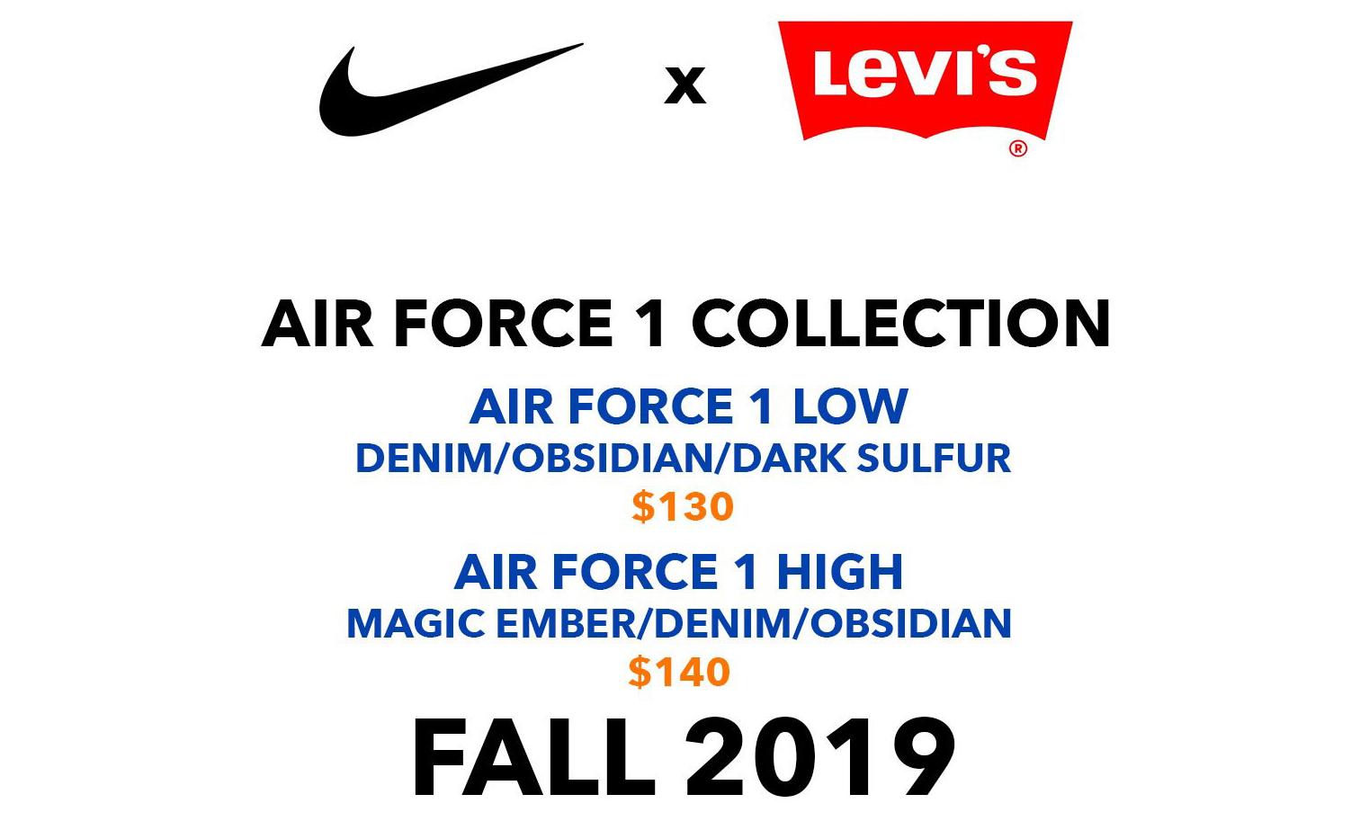 继续丹宁色彩,Levi's x Nike 联名 Air Force 1 系列将于今秋登场