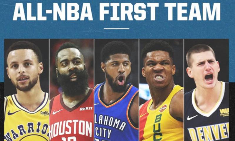 NBA 官宣 18-19 赛季最佳年度阵容