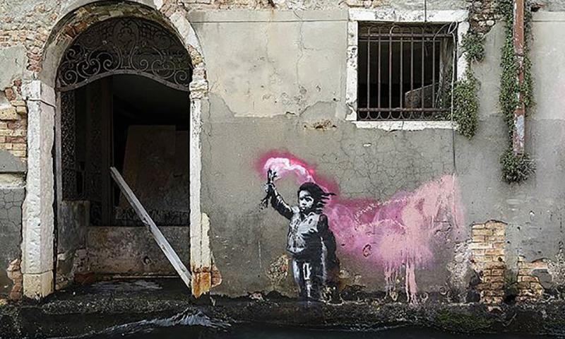 威尼斯双年展期间,Banksy 再添新作