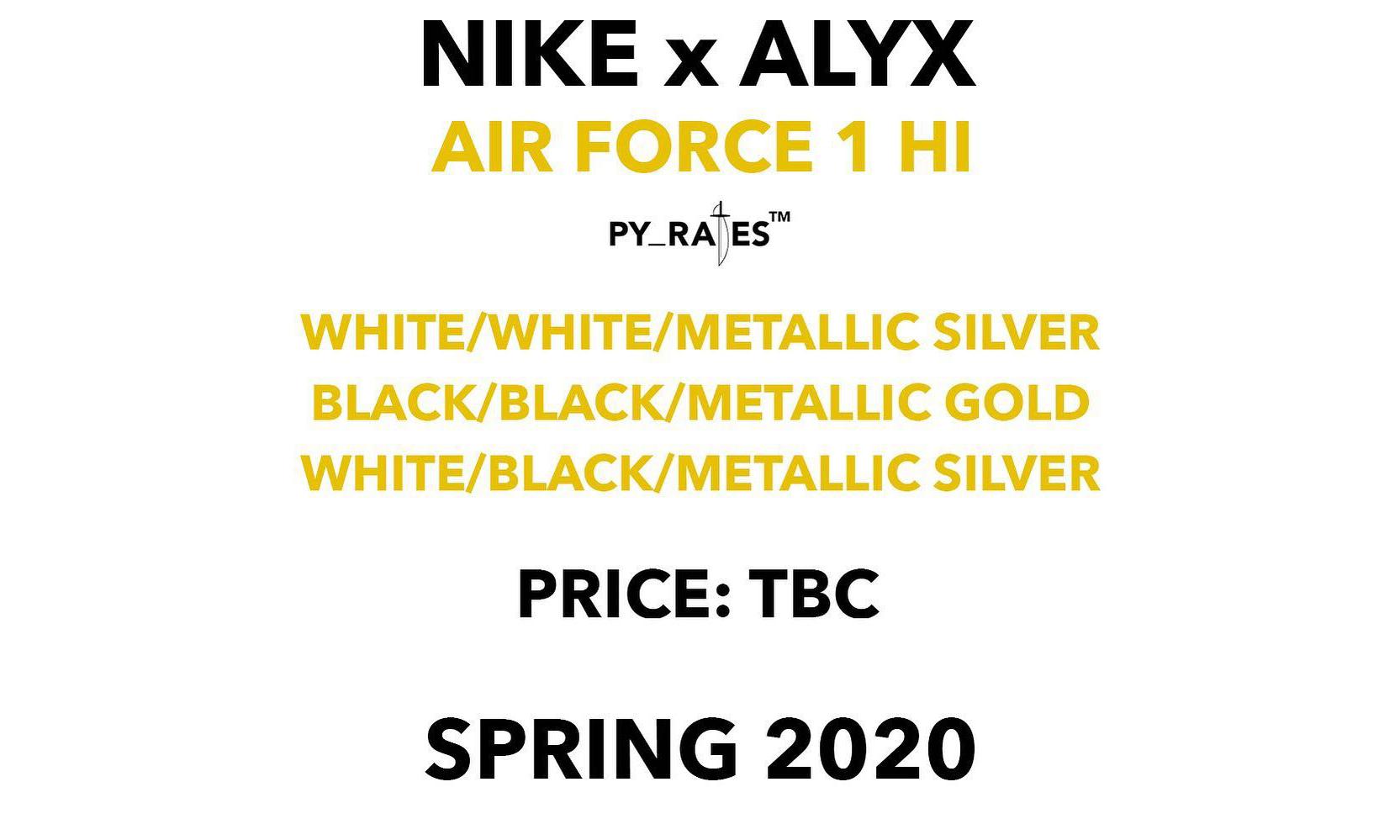 Nike 与 ALYX 还将在 2020 年推出 3 款联名 Air Force 1