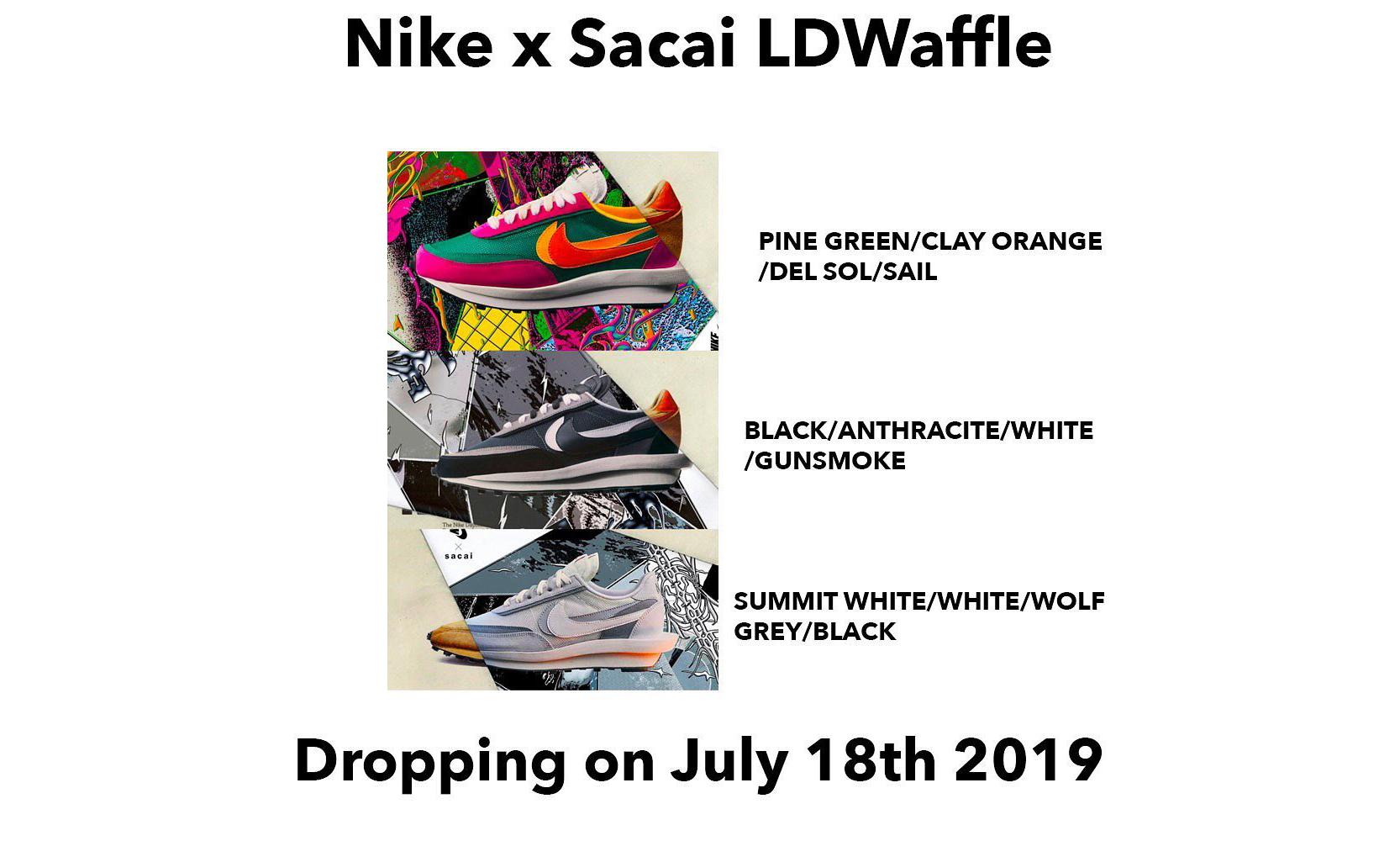 三色齐发?sacai x Nike LDWaffle 7 月发售配色安排公布