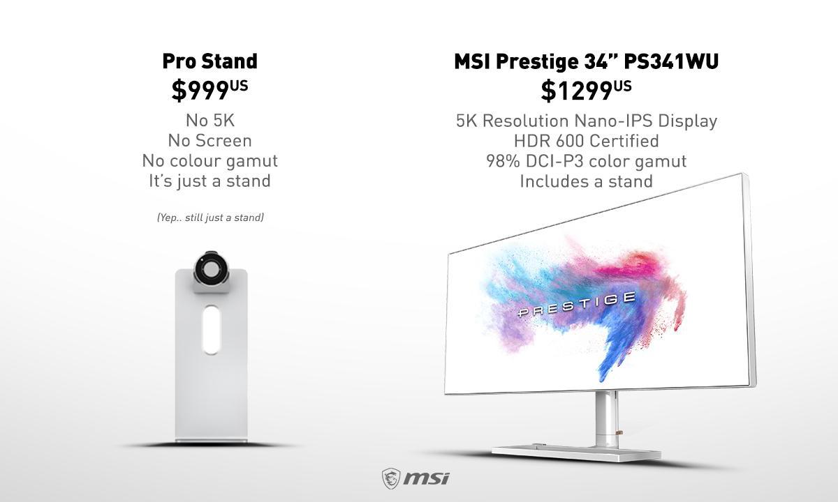 微星发布新广告嘲讽新款 Mac Pro 显示器支架