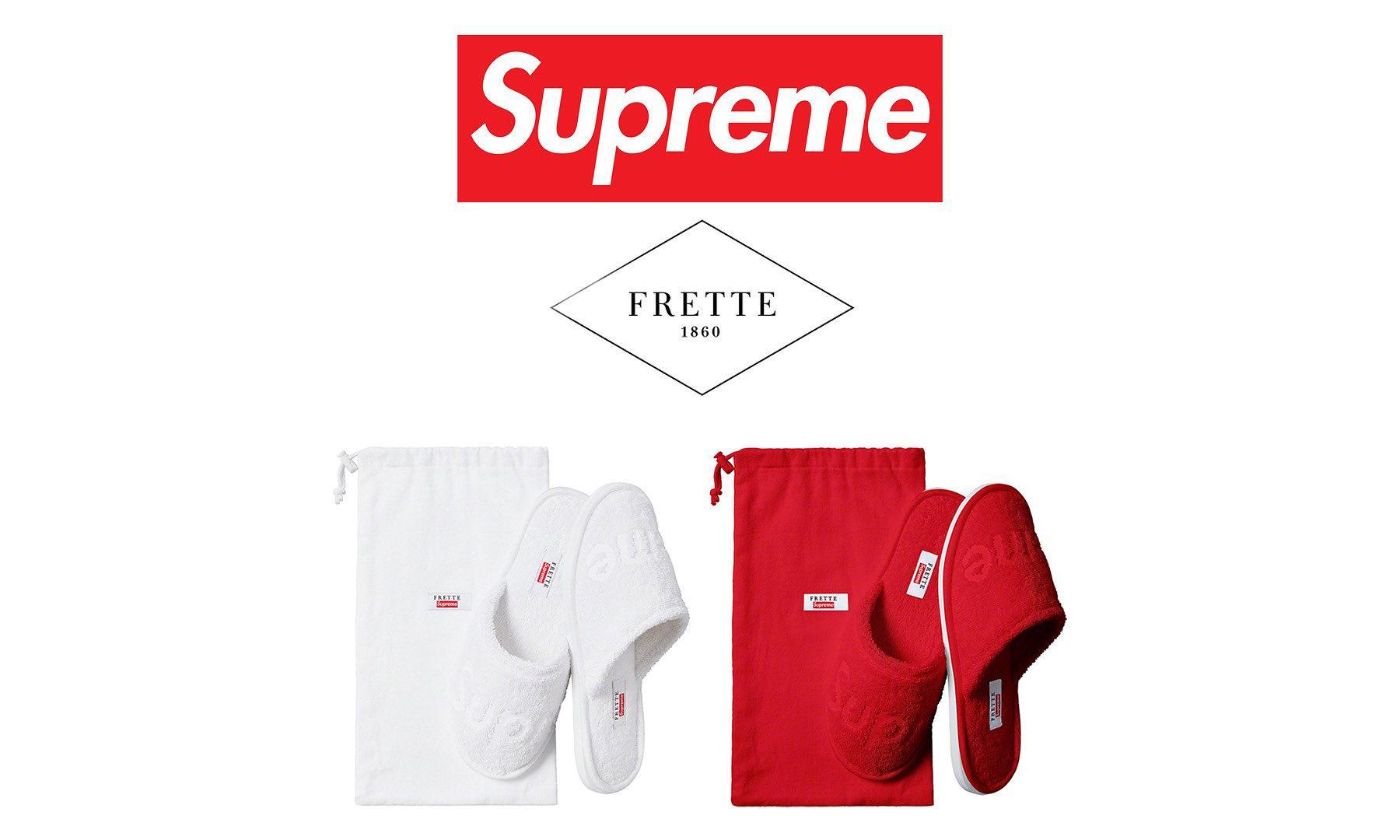 Supreme x Frette 酒店拖鞋将在本周发售