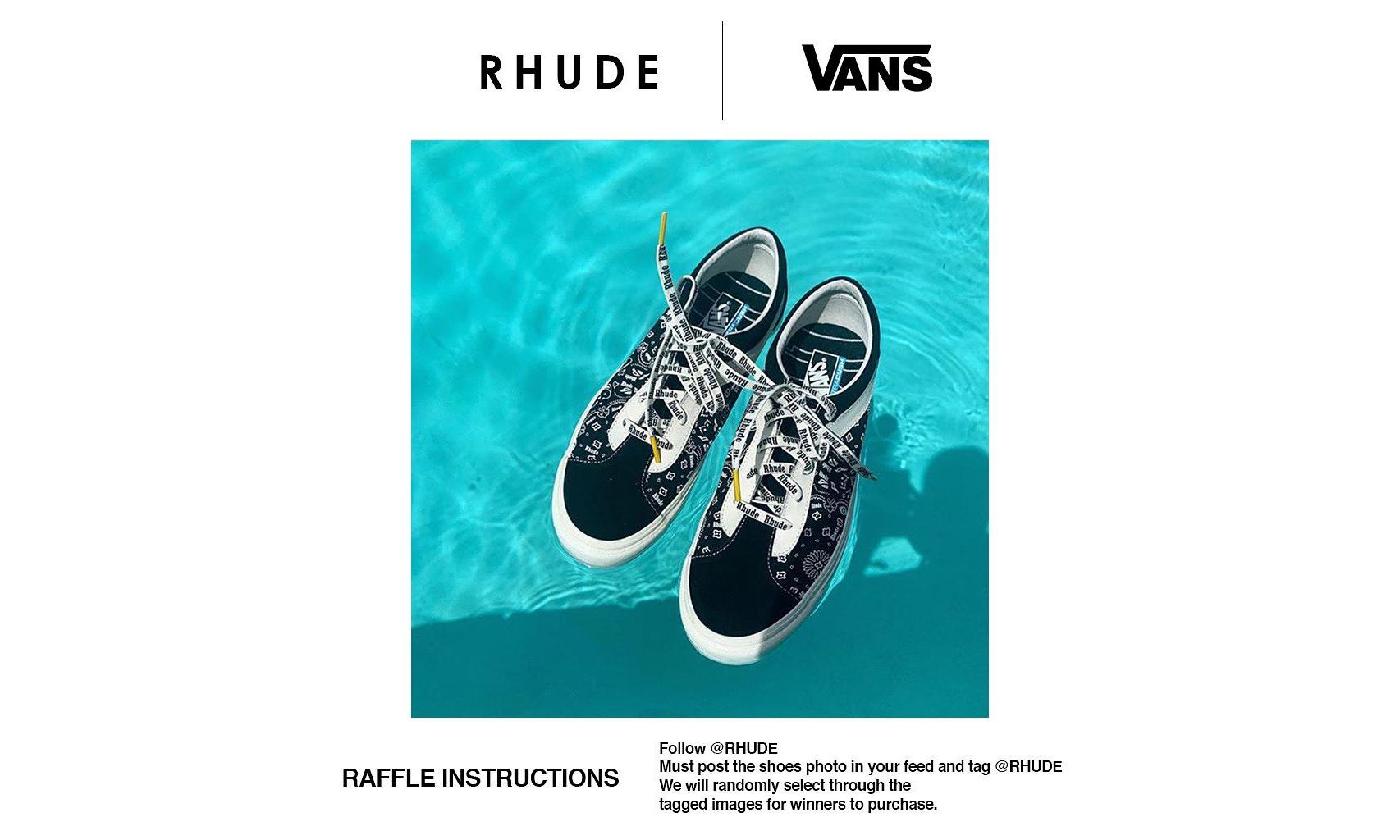 RHUDE x Vans 联名系列现已开启发售登记