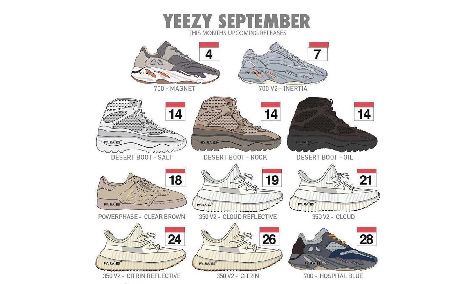 重磅福利月!YEEZY 鞋款 9 月完整发售清单曝光