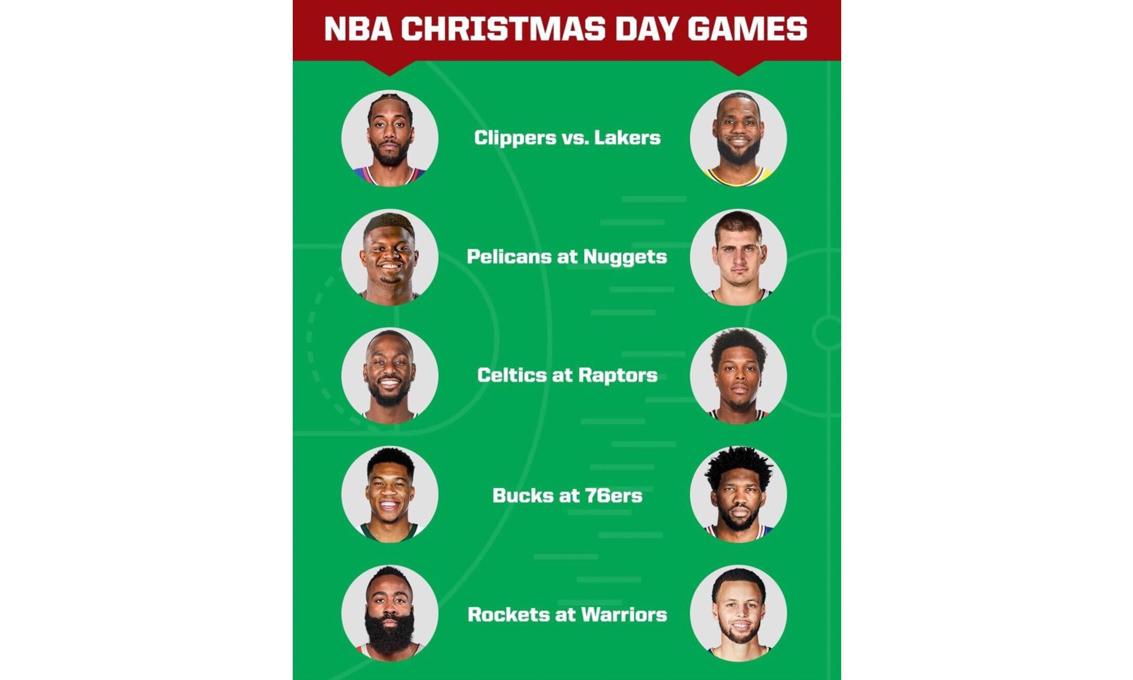 NBA 公布新赛季圣诞大战赛程