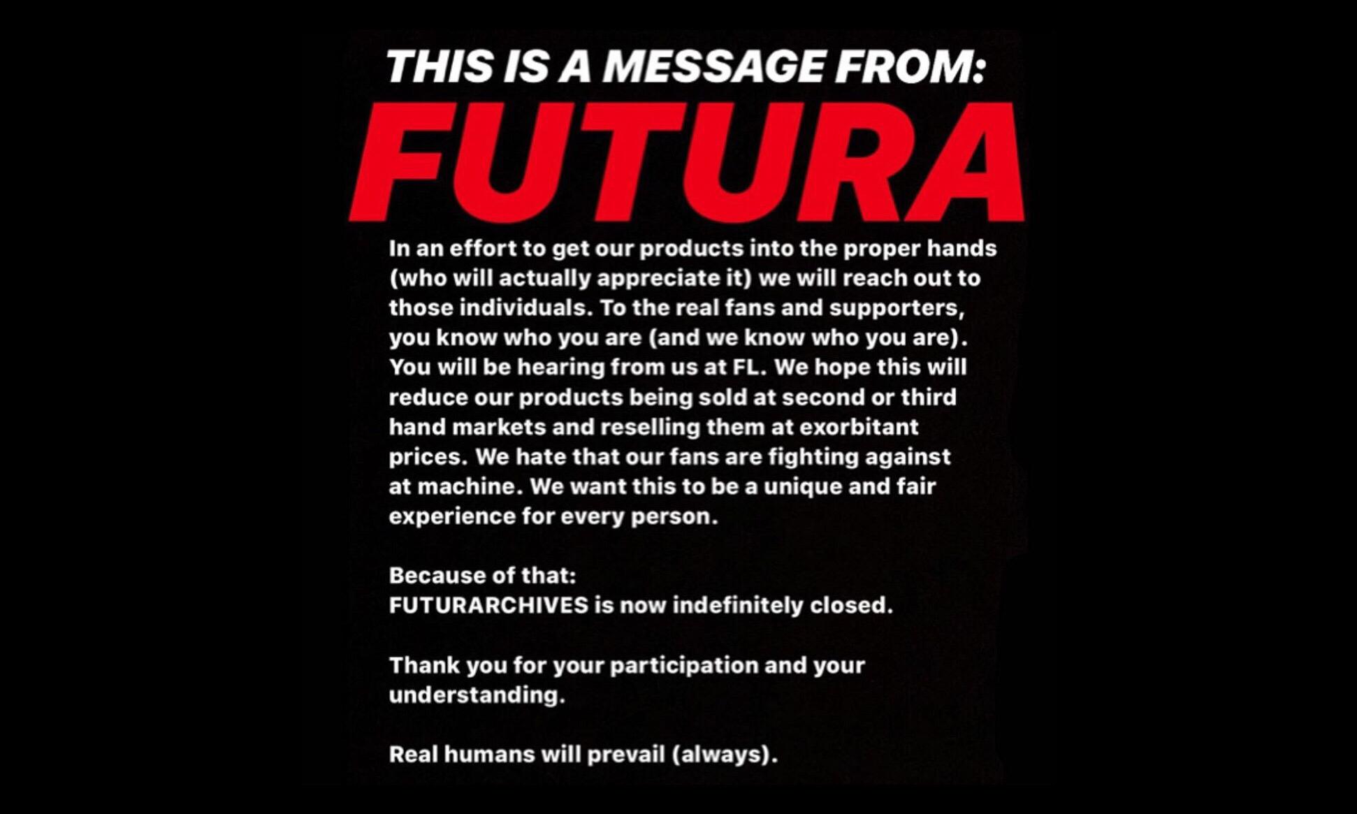 Futura 宣布关闭个人网上店铺
