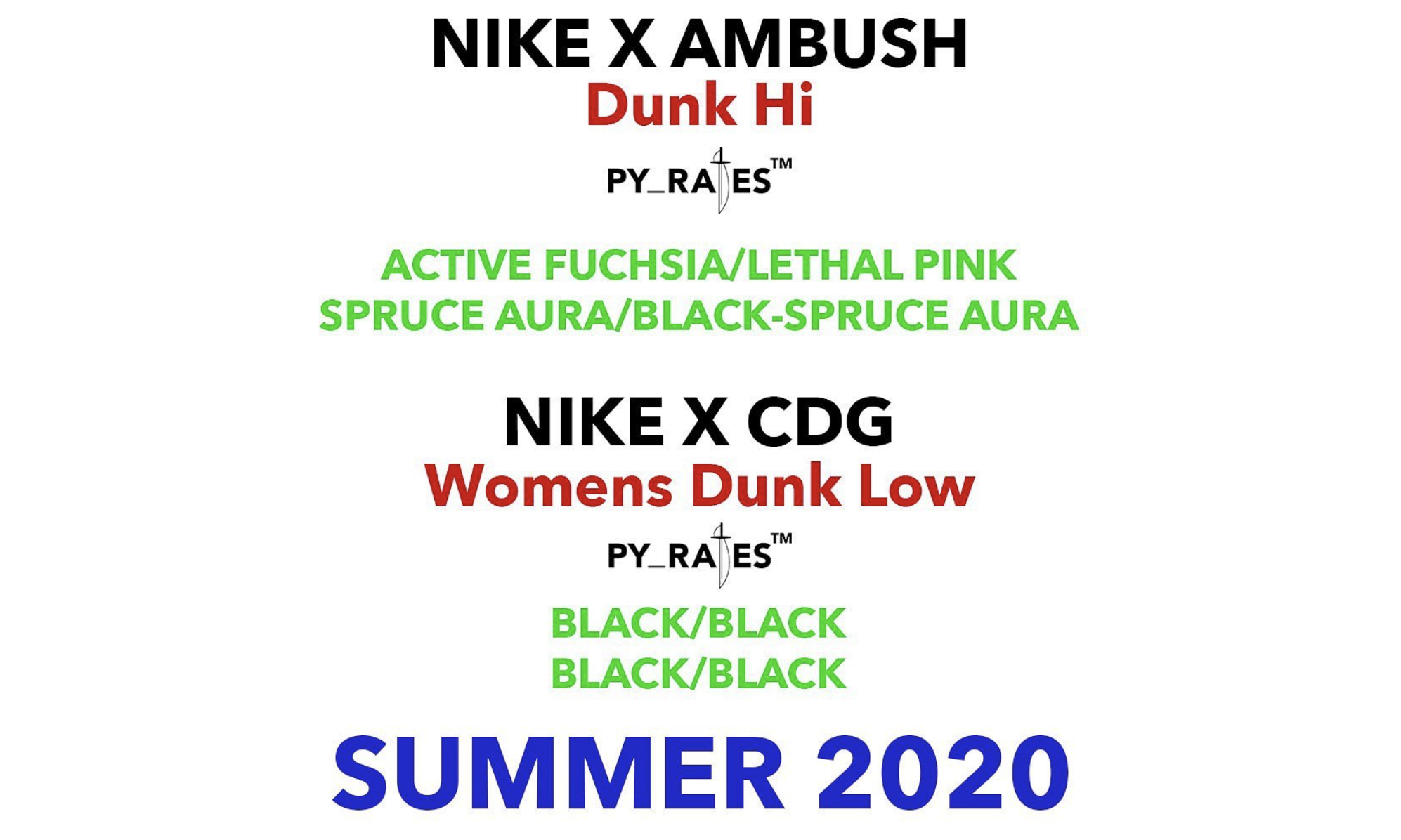AMBUSH、CdG 将在明年分别推出 Dunk 联名设计