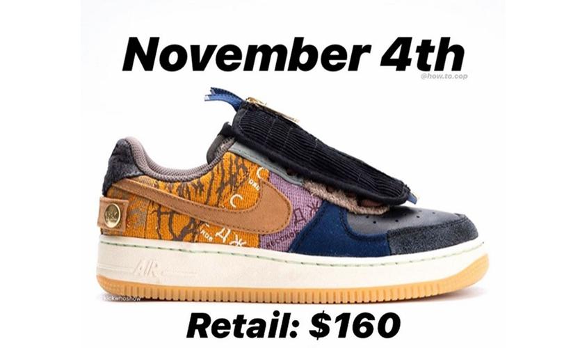 Travis Scott x Nike Air Force 1 联乘鞋款发售日期确定