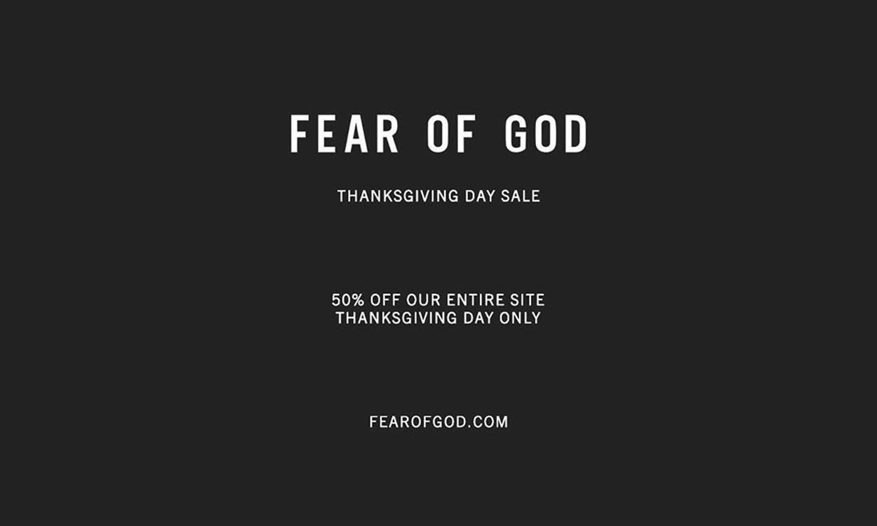 Fear Of God 24 小时限定感恩节折扣活动即将开启