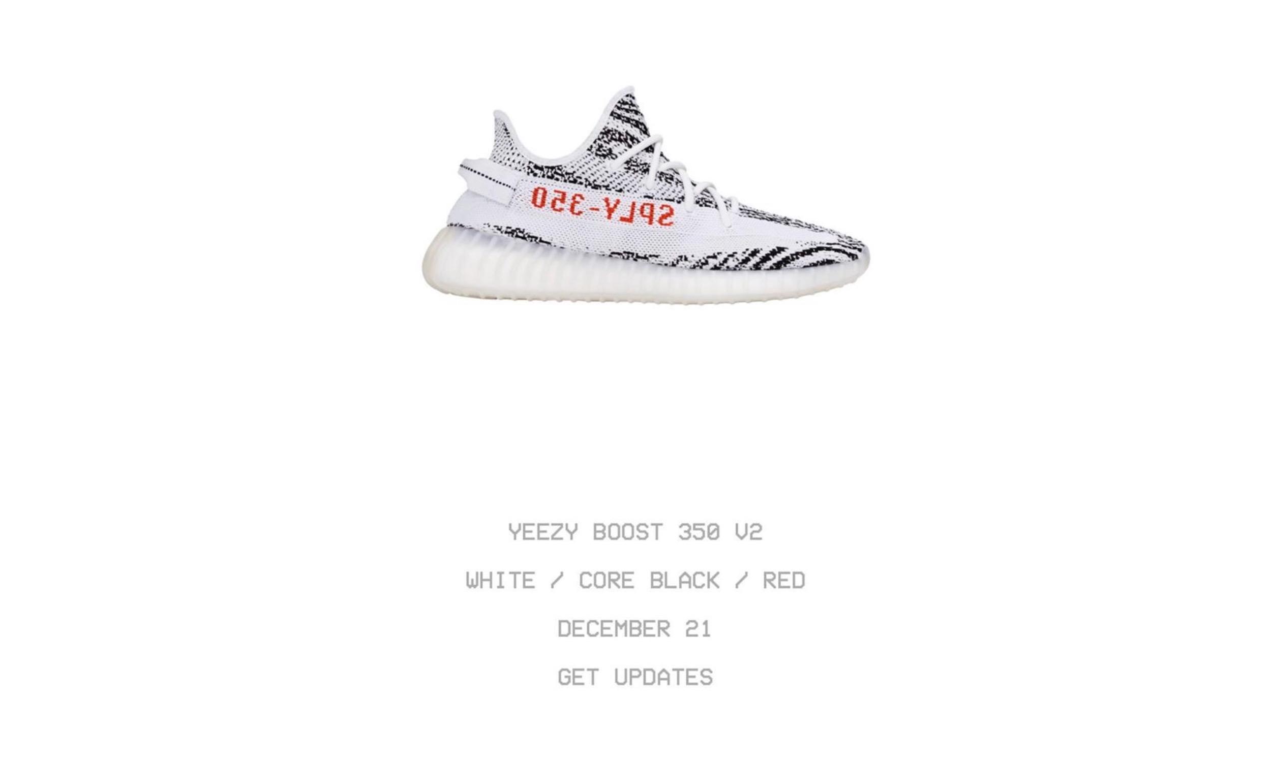 Yeezy Boost 350 V2「Zebra」补货日期确定