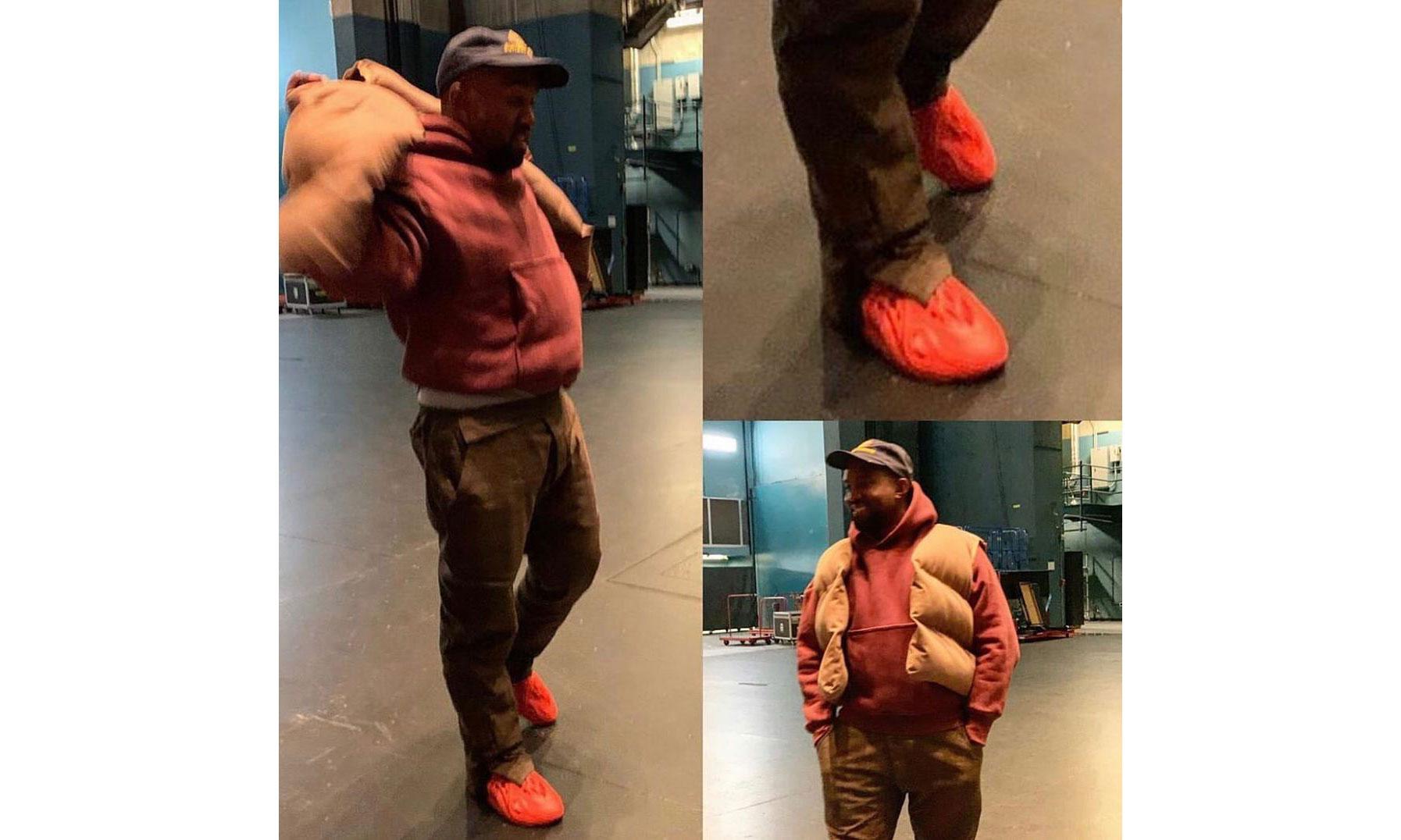 终于「红」了,Kanye West 上脚 Yeezy Foam Runner 新配色