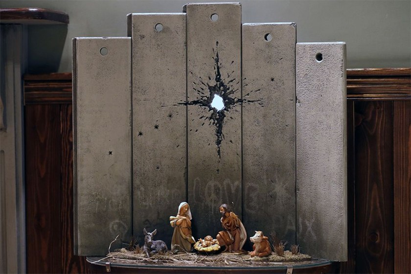 呼吁爱与和平,Banksy 新作《Scar of Bethlehem》在巴以交界处展出