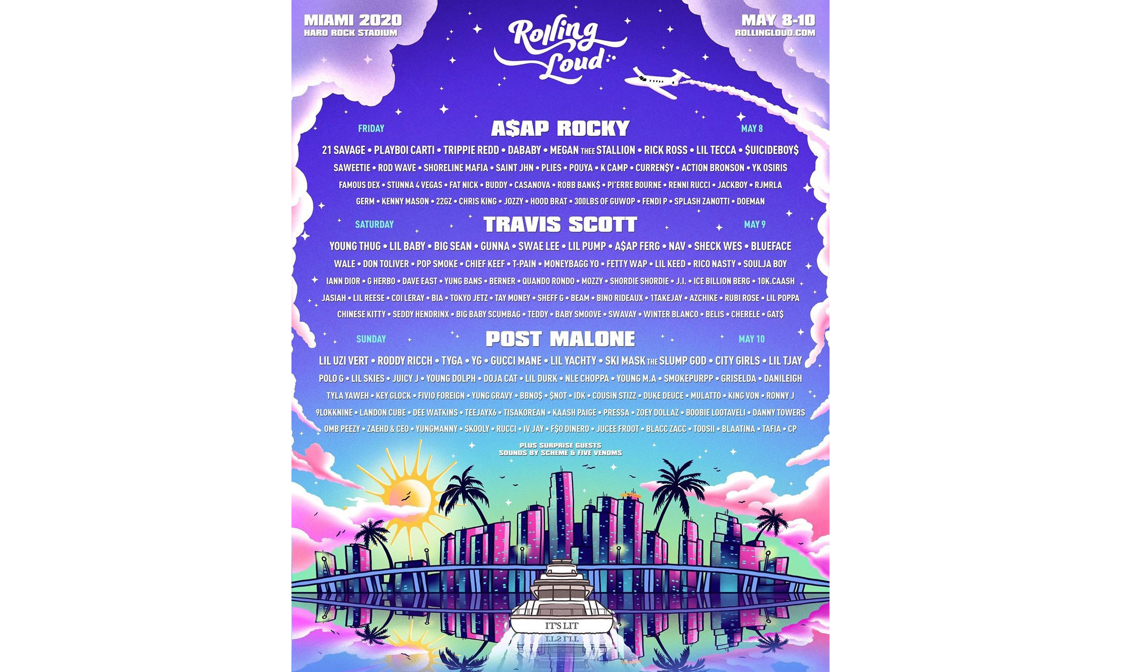 Rolling Loud 2020 迈阿密站完整演出阵容公布