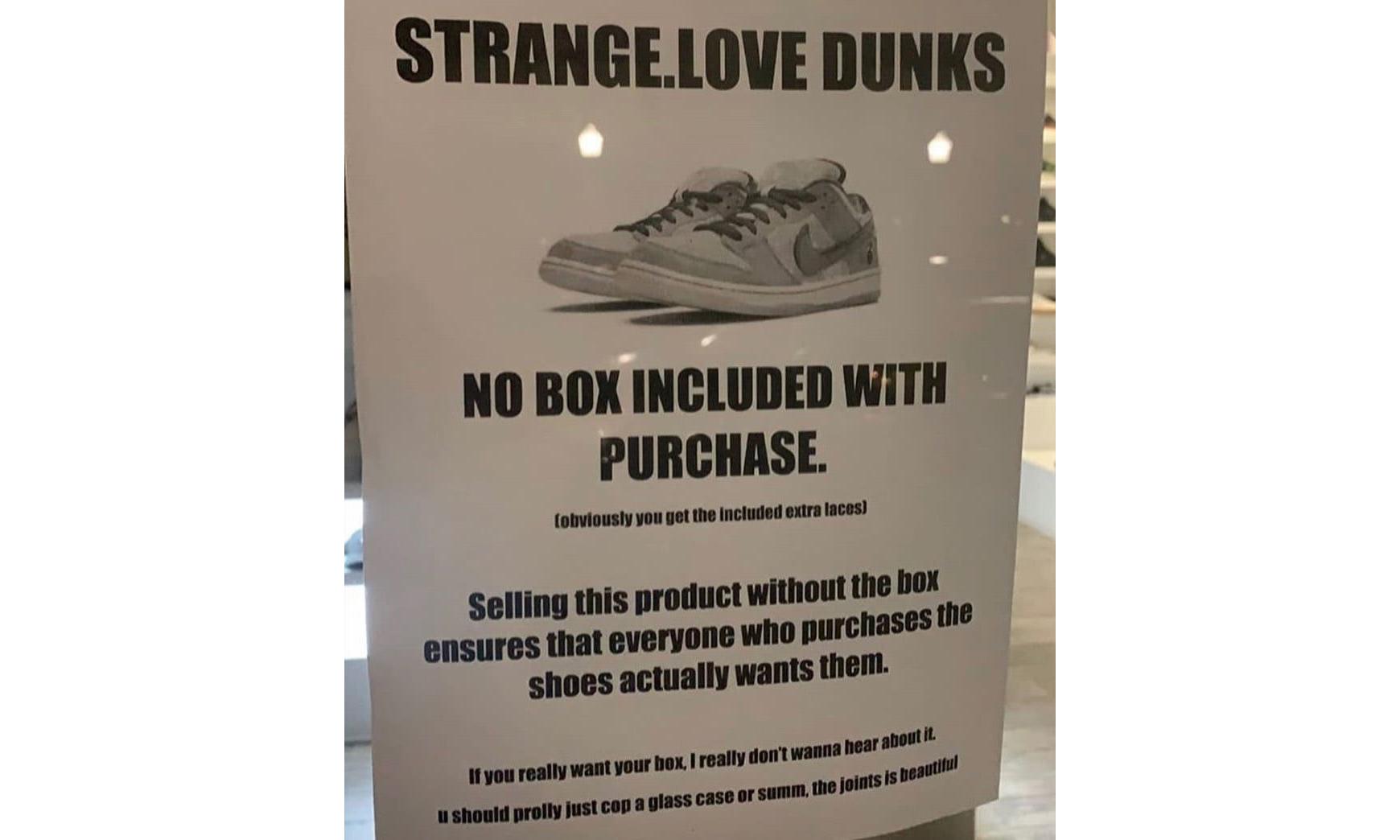 断绝倒卖可能,美国一门店发售 StrangeLove x Nike SB Dunk Low 不提供鞋盒