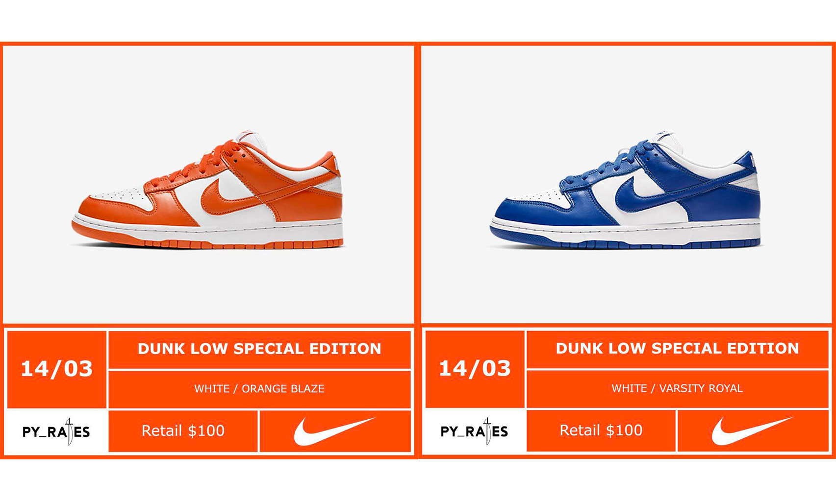 Nike Dunk Low「Kentucky」「Syracuse」配色发售日期公布