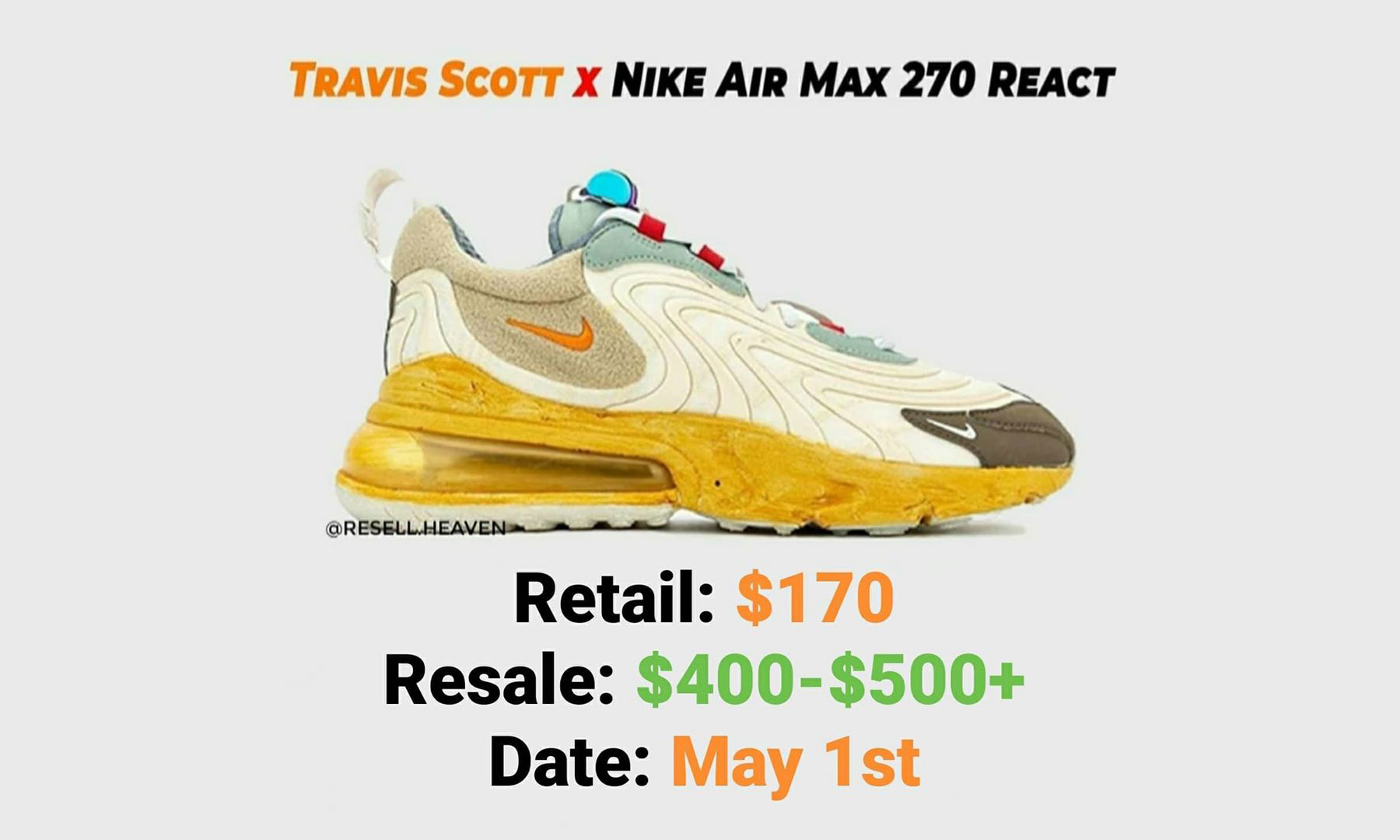 Travis Scott x Nike Air Max 270 React 发售遭延期