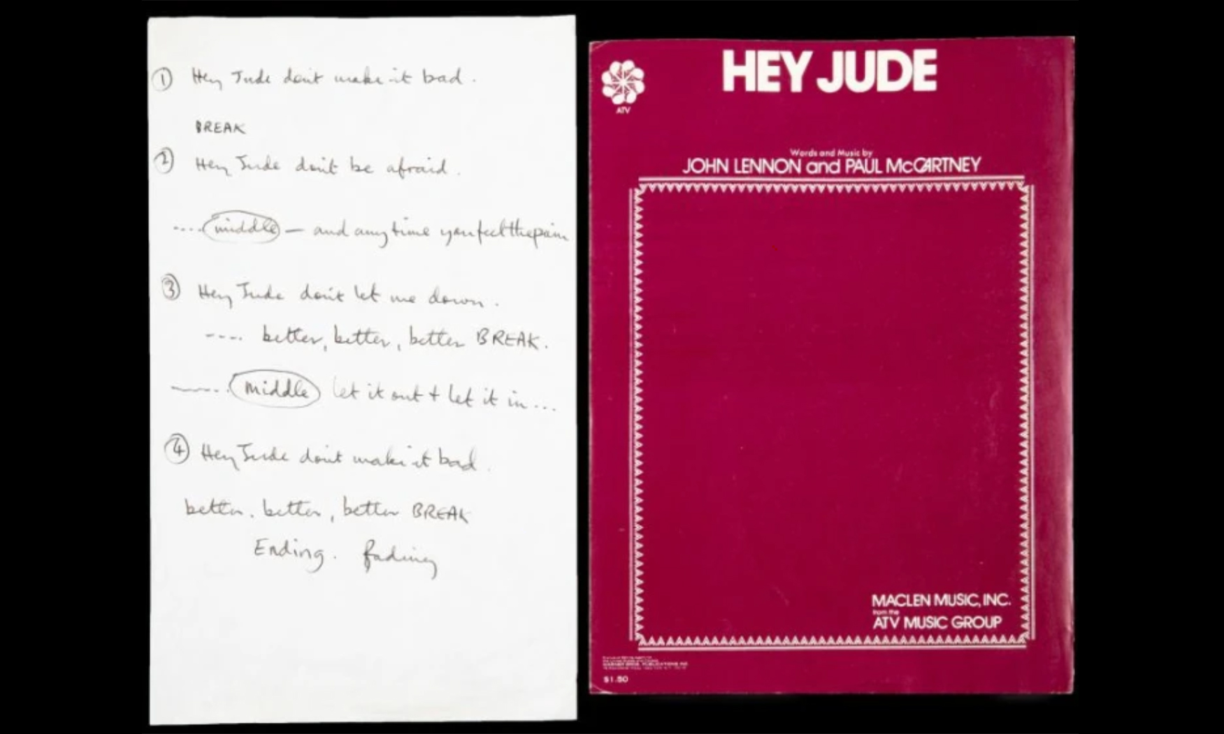 《Hey Jude》手写歌词以 91 万美元的价格拍卖成交