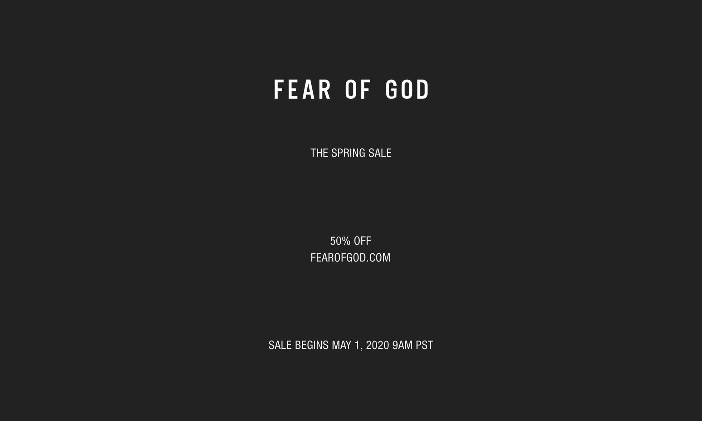 FEAR OF GOD 官网开启五月全新「折扣季」