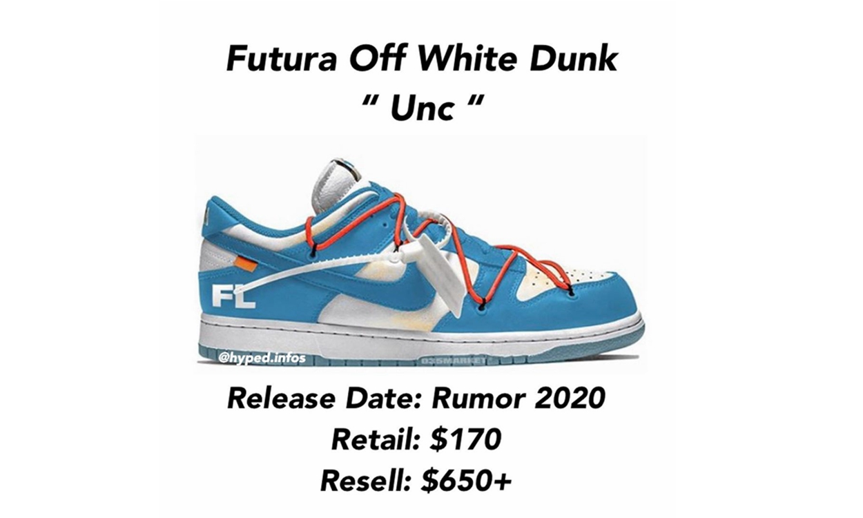 Futura x Off-White™ x Nike SB Dunk Low「UNC」或将于今年正式登场