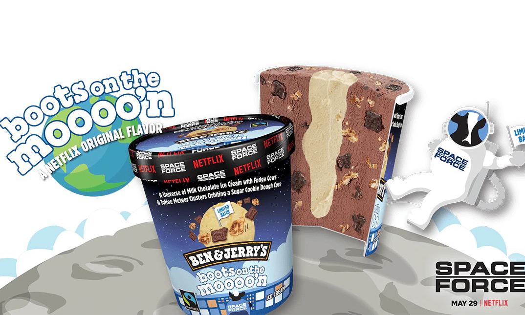 为新剧造势,Ben & Jerry's 携手 Netflix 推出「Boots on the Moooo'n」口味冰激凌