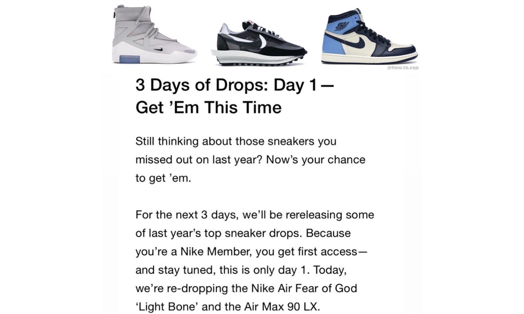 美国 Nike 将在接下来三天补货数款大热球鞋