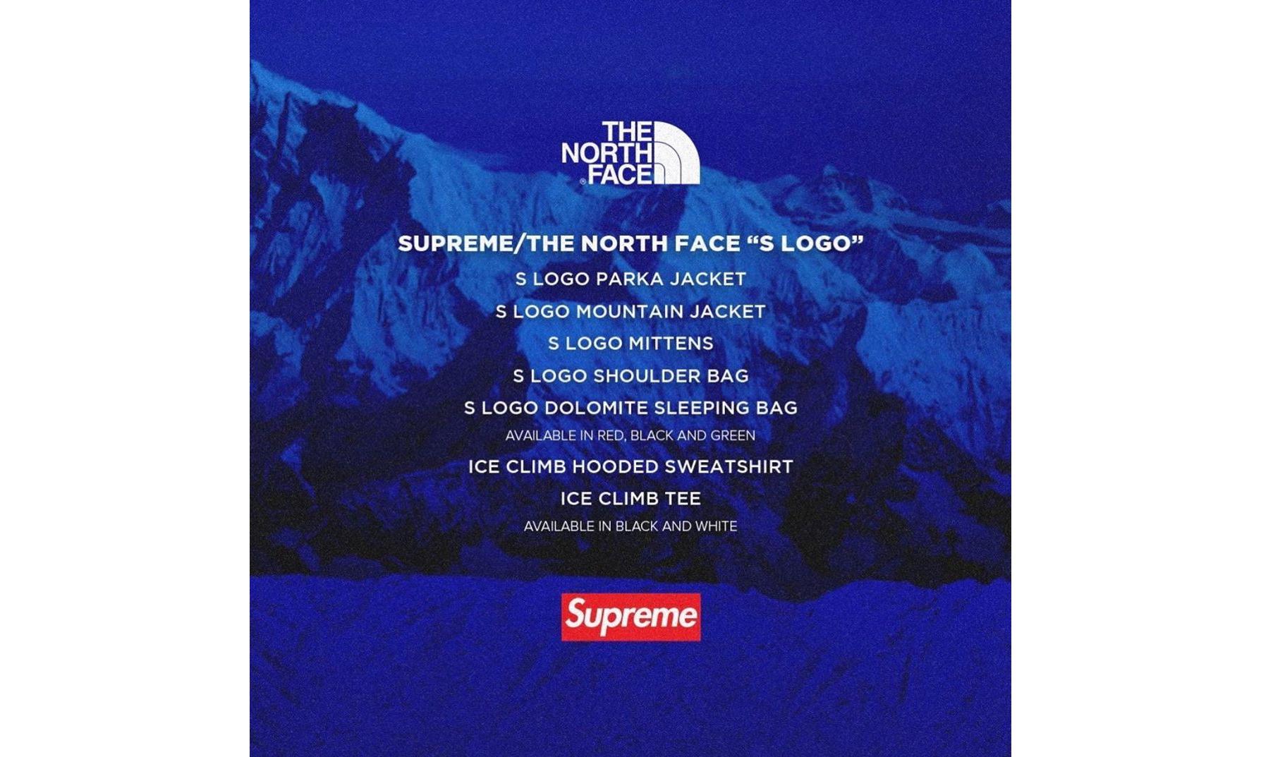 Supreme 将合作 THE NORTH FACE 推出「S」logo 联乘系列