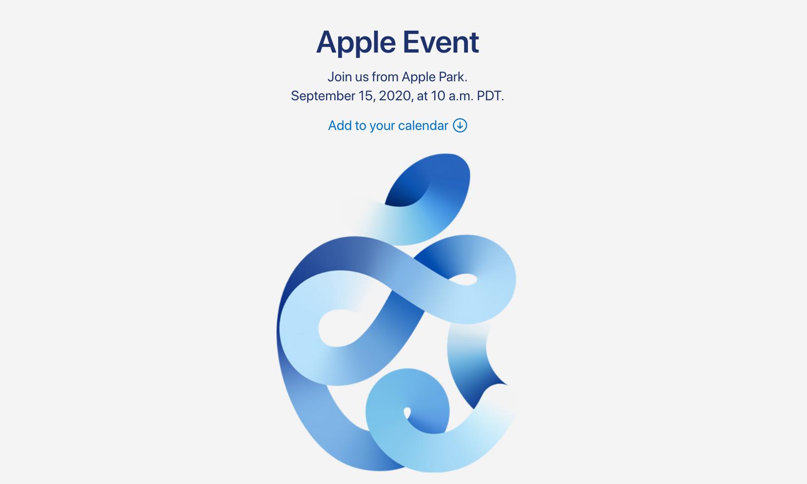 苹果 2020 秋季发布会定档 9 月 15 日
