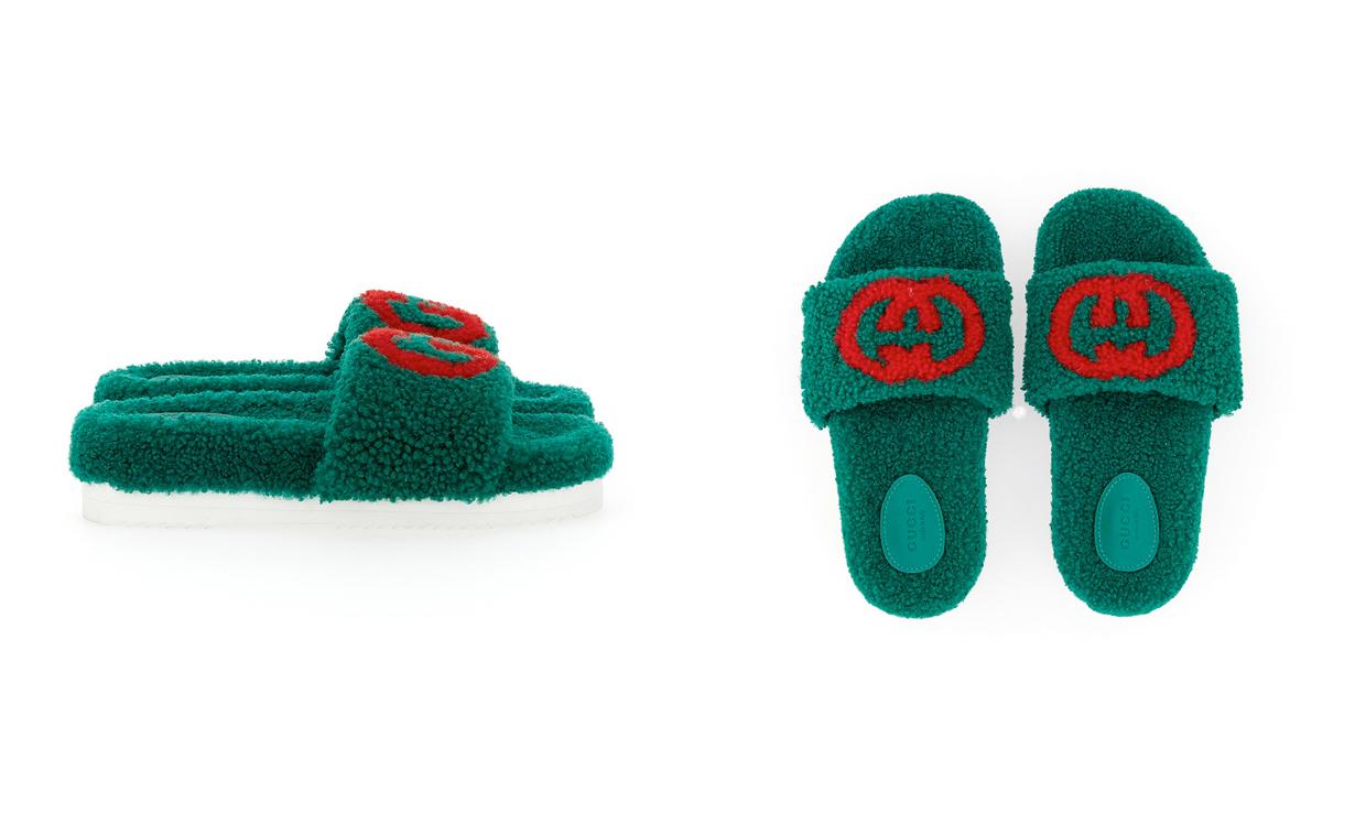 吸睛单品,GUCCI 于圣诞季推出毛毛拖鞋