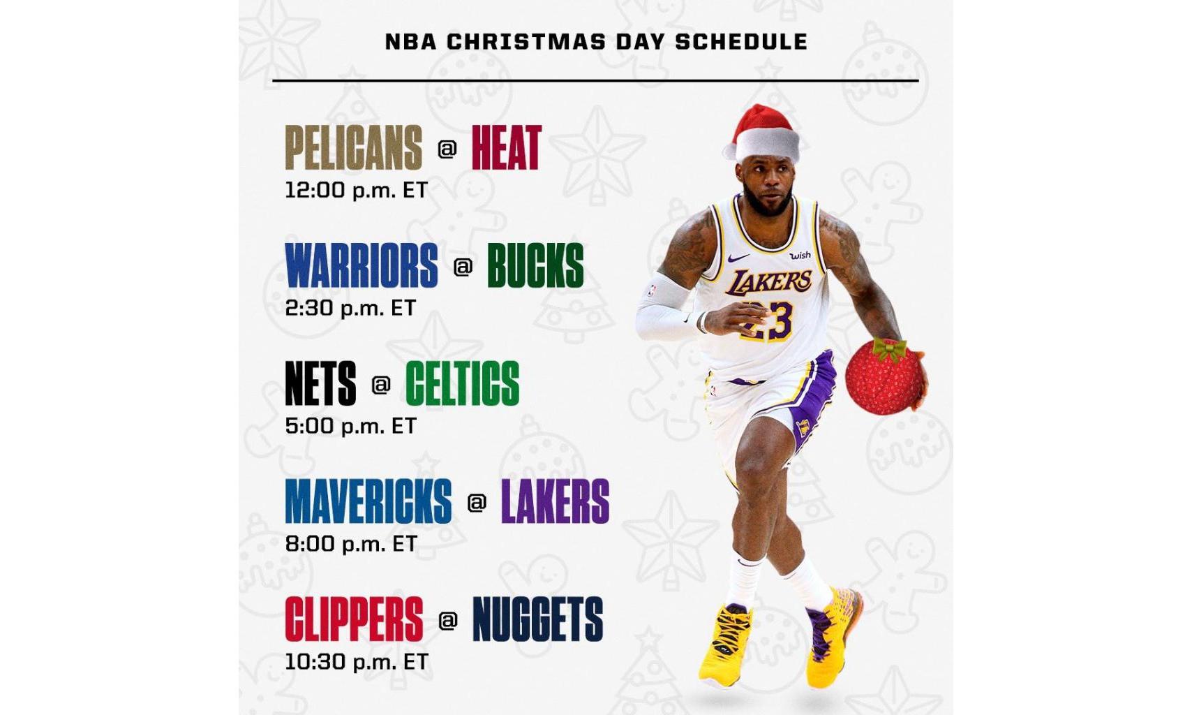 NBA 2020-21 赛季「圣诞大战」赛程公开