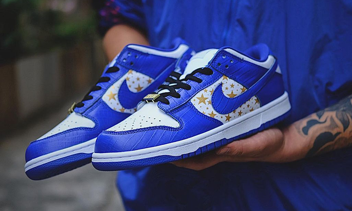 Supreme x Nike SB Dunk Low「Hyper Royal」实物近赏