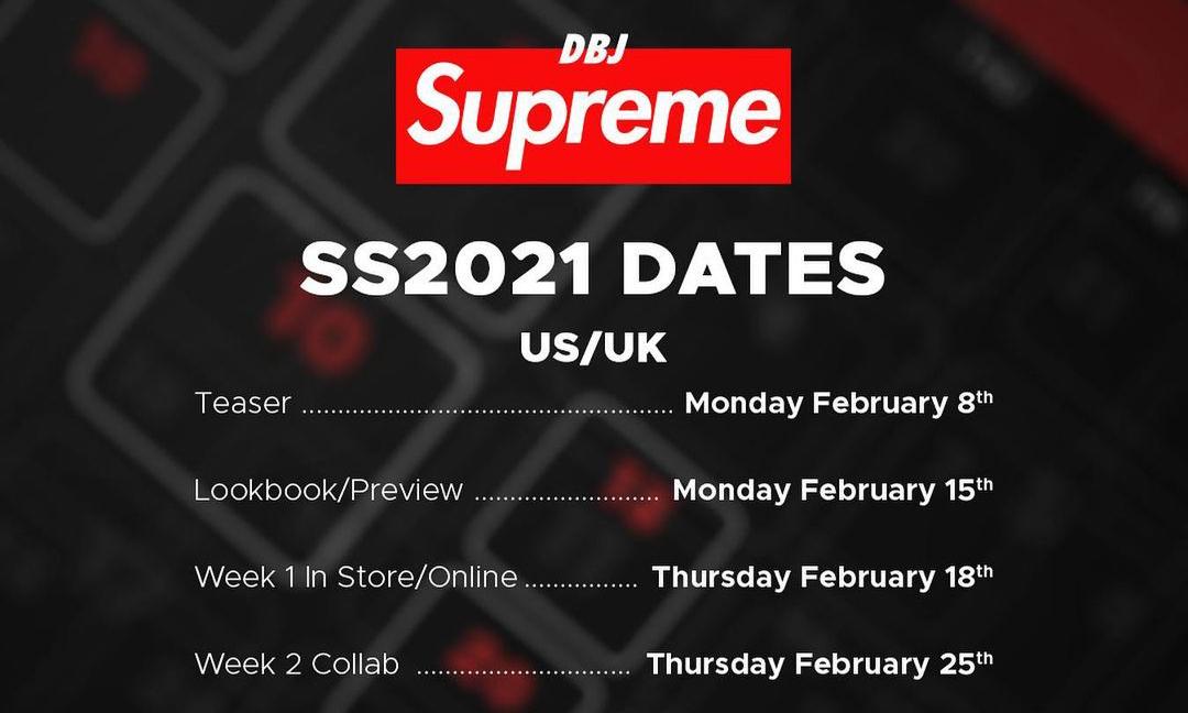 Supreme 2021 春夏系列将于 2 月 15 日登场