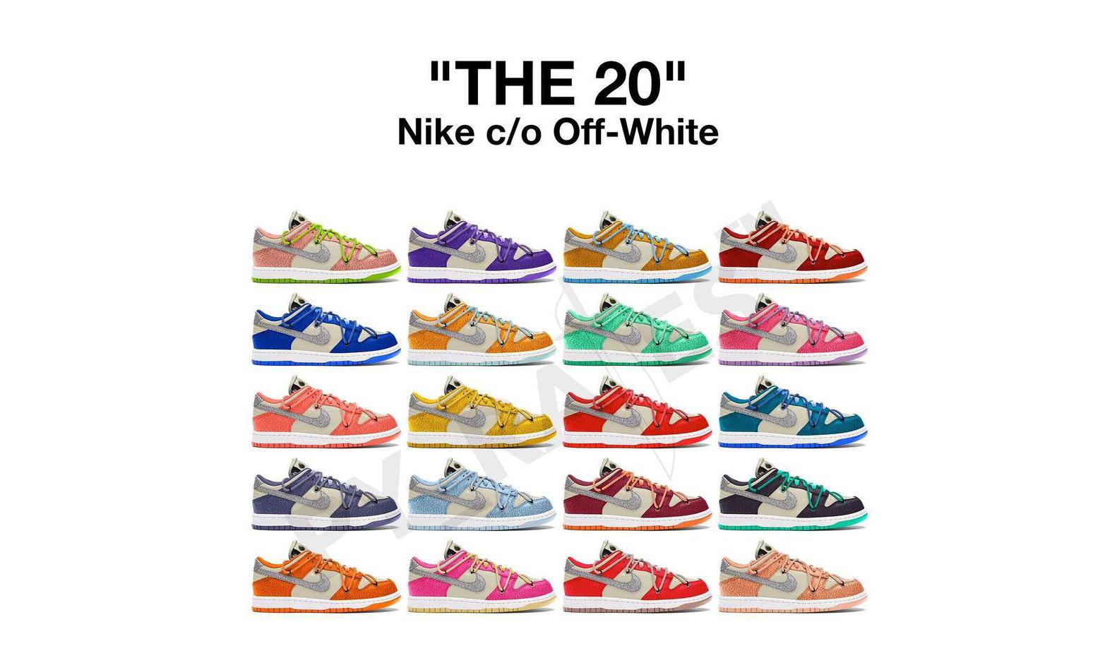 Virgil Abloh 将与 Nike 推出 20 款不同配色联名 Dunk