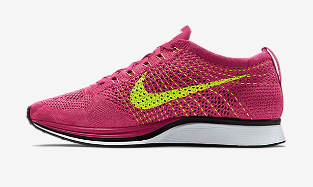 Nike Flyknit Racer 全新 Fireberry Pink Flash Volt  配色