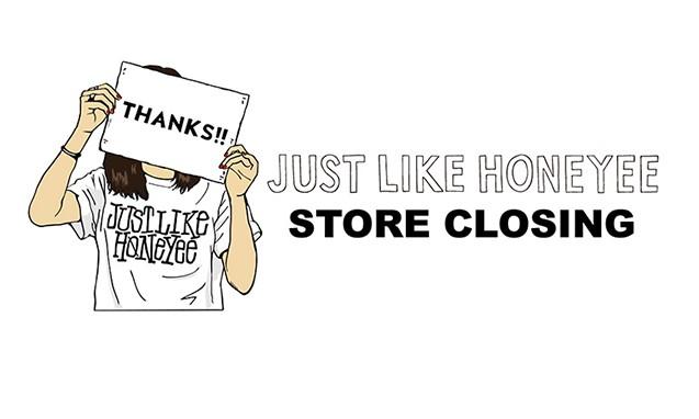 honeyee.com 线上店铺「JUST LIKE HONEYEE」将于月底正式关闭