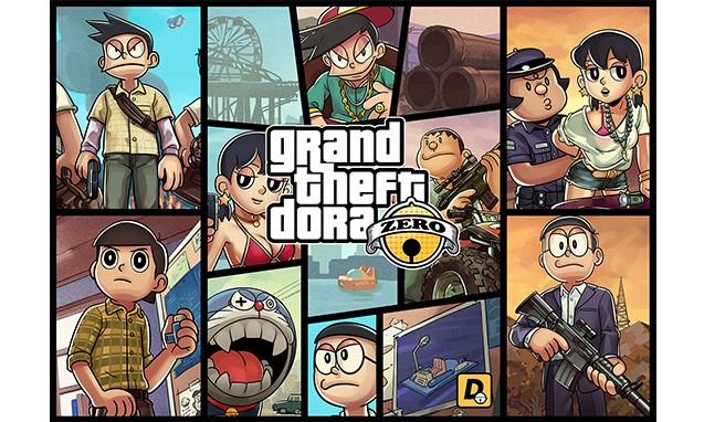 侠盗猎车手哆啦A梦?GTA5 x Doraemon 插画师 EN 终极画作