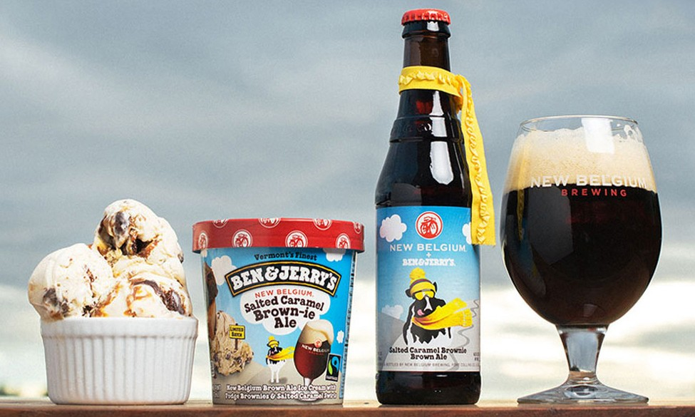 BEN & JERRY'S x New Belgium 推出新品,咸焦糖巧克力蛋糕口味棕色啤酒及冰淇淋
